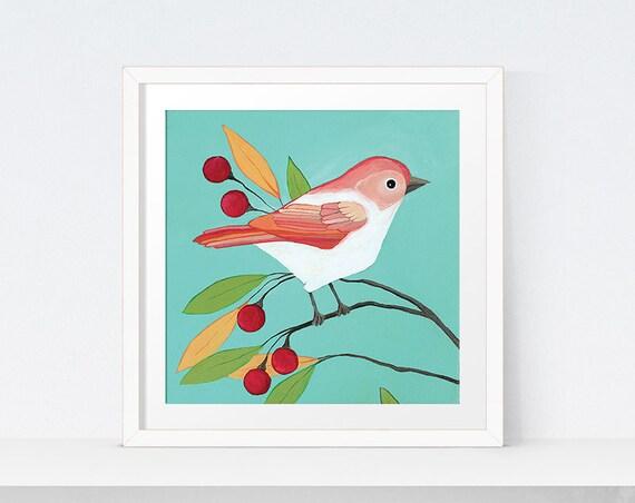 Wall Art Decor Printable Bird Artwork Coral Bird Art Print Etsy