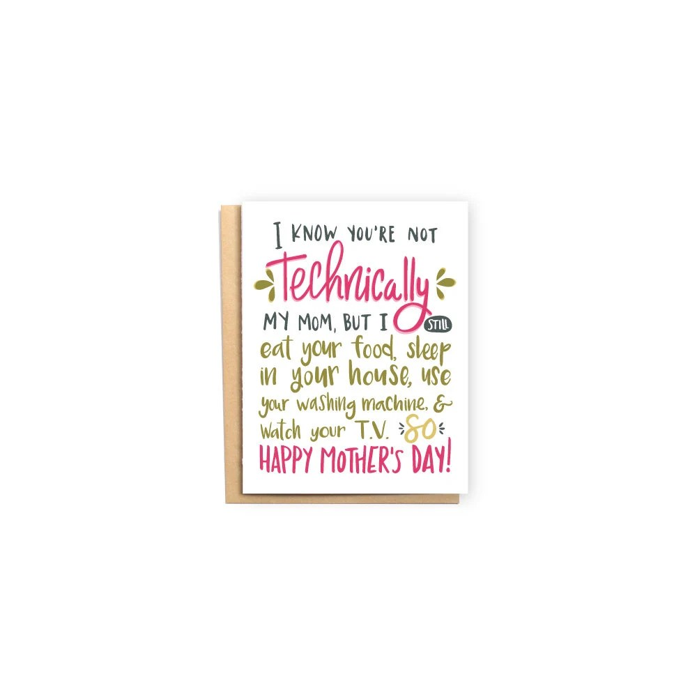 Not Technically My Mom Mother\u0027s Day Card Second Mom Etsy