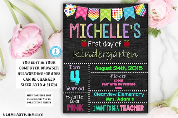 First day of Kindergarten sign Template First day of school Etsy