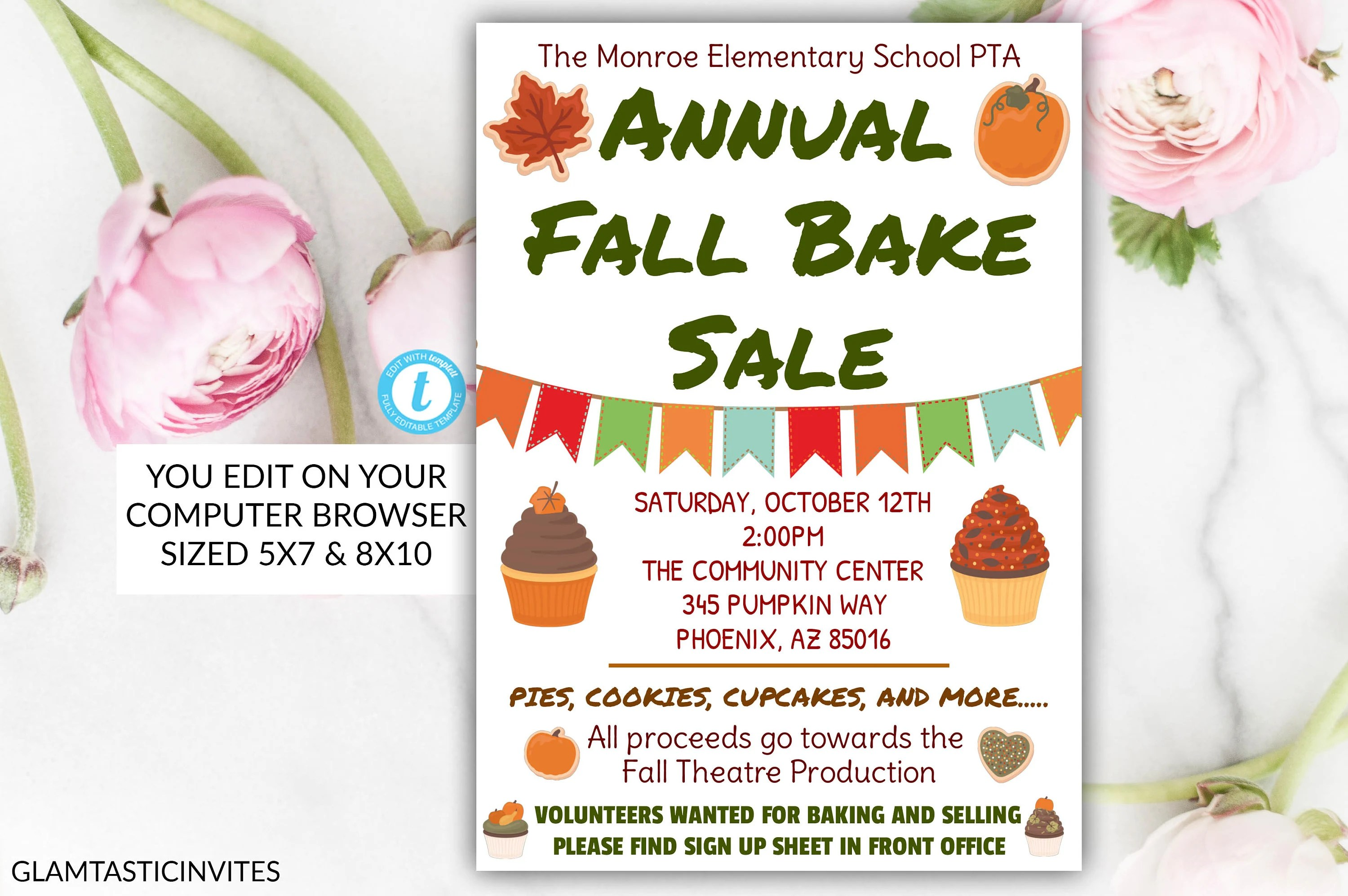 Annual Fall Bake Sale Flyer Poster Template, Printable PTA, PTO