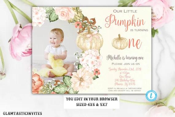 Pumpkin First Birthday Invitation Template Our Little Pumpkin