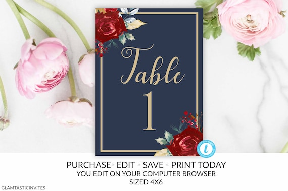 Table Numbers, Wedding Table Number, Editable Template, Table