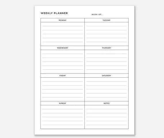 Planner Weekly Downloadable Weekly Planner Weekly Organizer Etsy