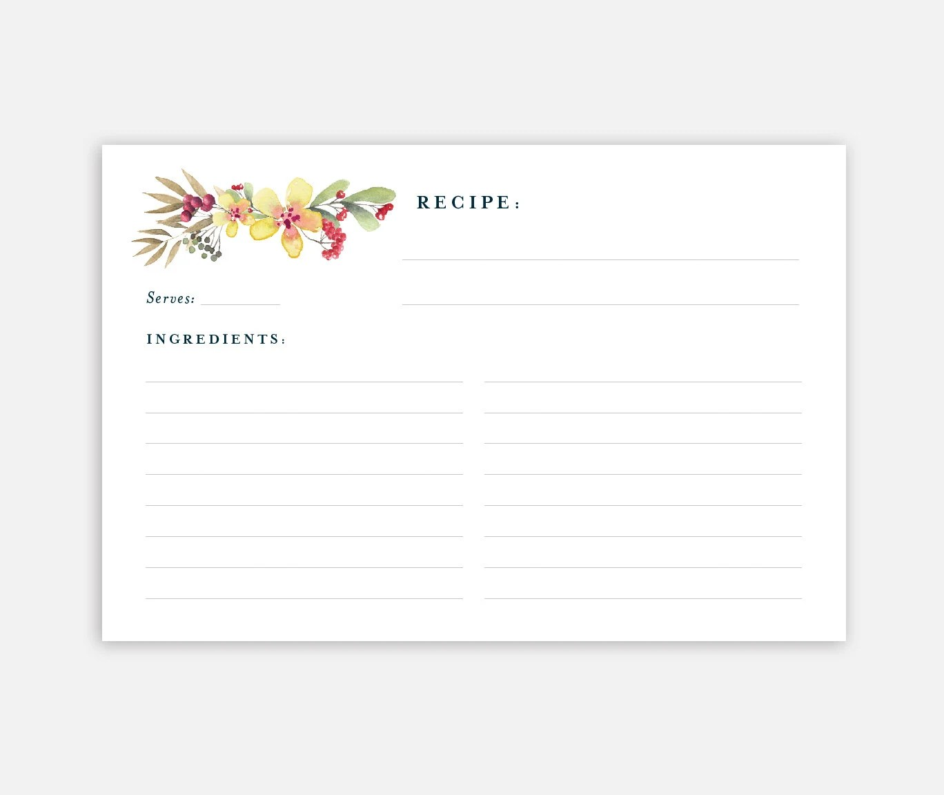 Printable Recipe Card 4x6 Recipe Card Recipe Card Template Etsy