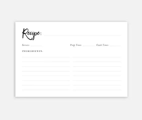 Downloadable Recipe Card Recipe Cards Printable Recipe Etsy