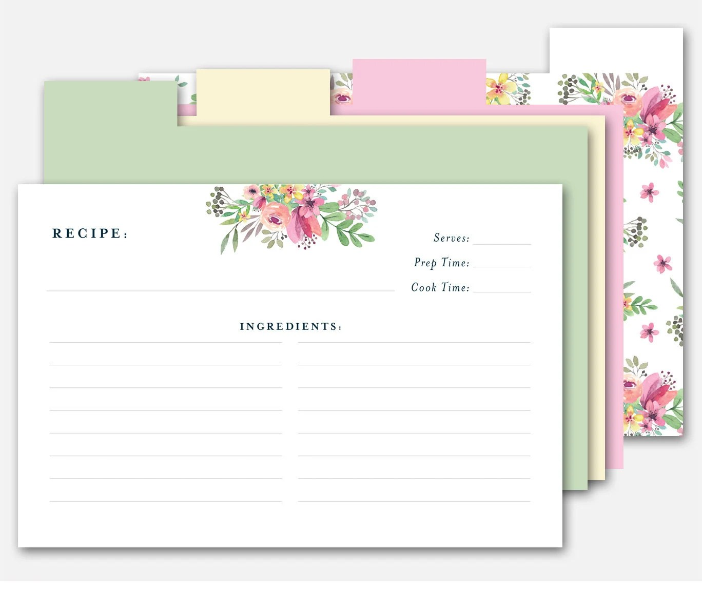 4x6 Recipe Card Printable Recipe Card Recipe Dividers Card Etsy