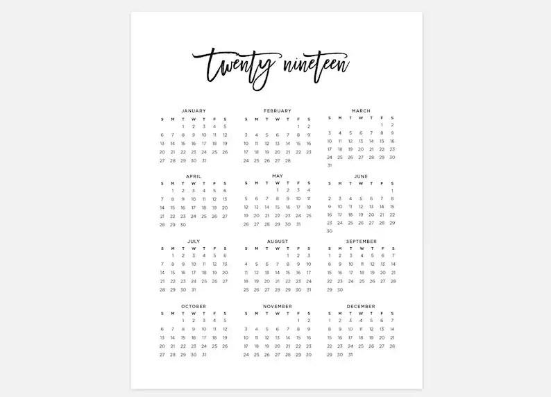 2019 Calendar Simple Calendar 2019 Year Calendar 2019 Etsy