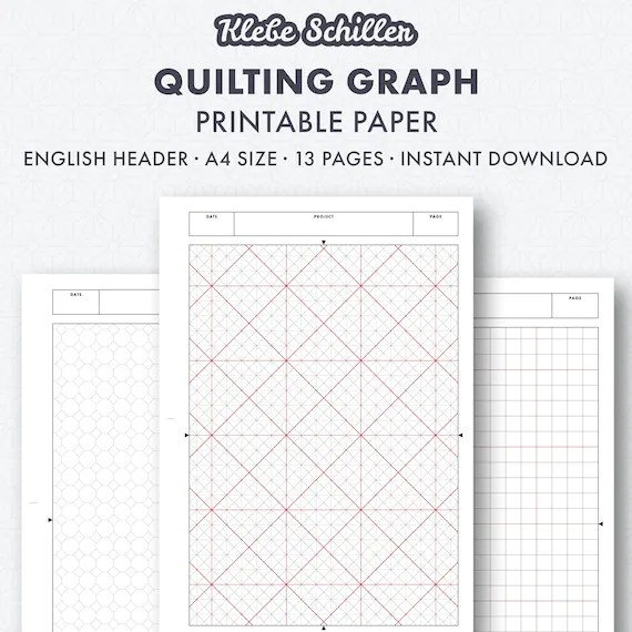 Quilting graph paper set English instant download printable - graph sheet download
