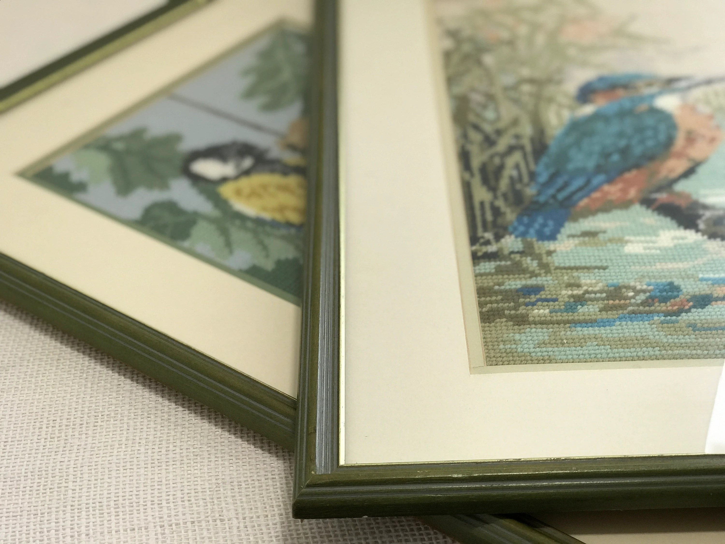 Olive Green Wall Decor Kingfisher Cross Stitch Tapestry In Olive Green Frame Mid Century