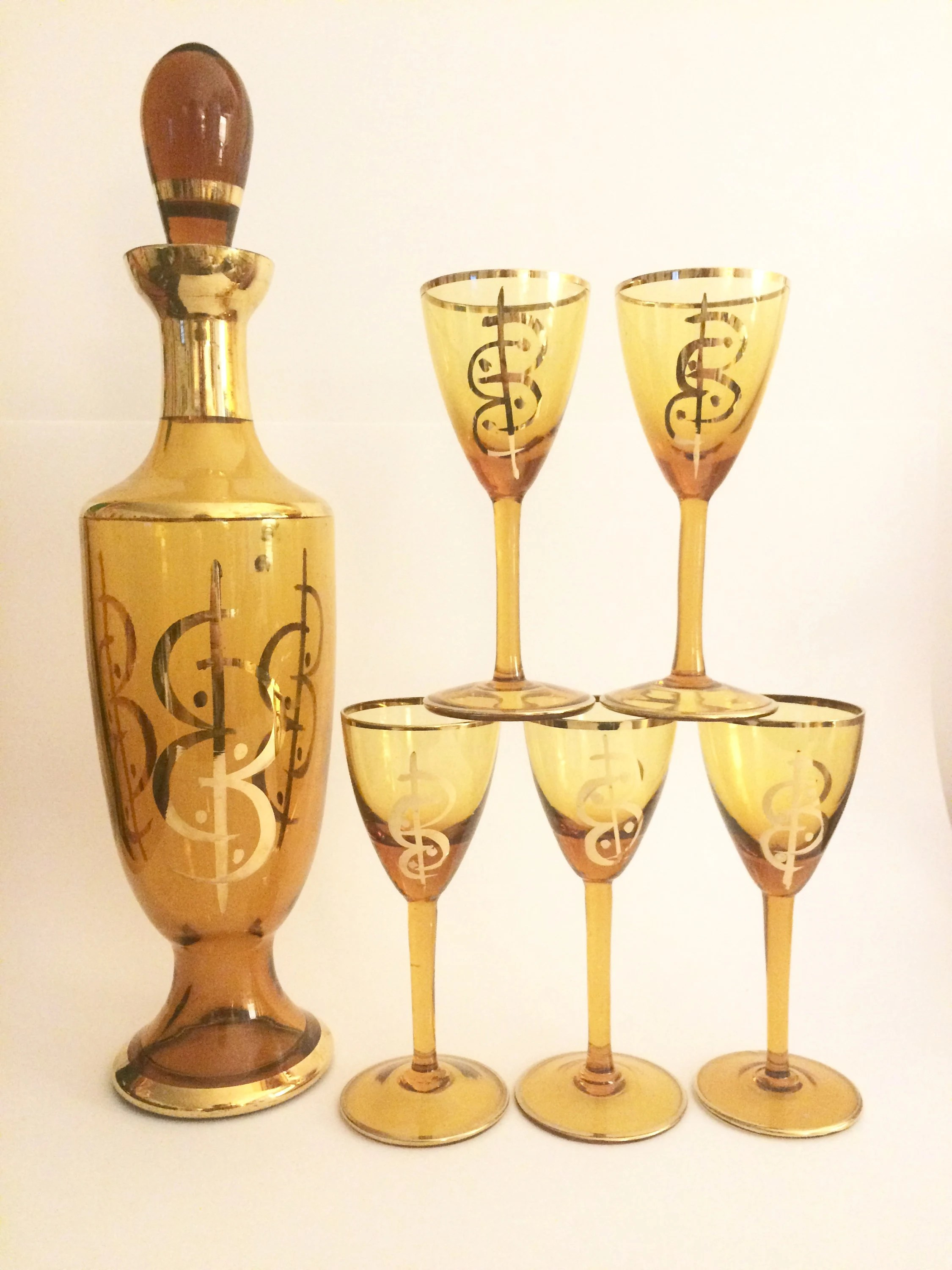 Decanter Wine Glas Vintage Amber Wine Glasses And Decanter Gold Rimmed Cordial Glasses Amber Stemware Mid Century Wine Glasses Liquor Decanter Mcm Murano Glass