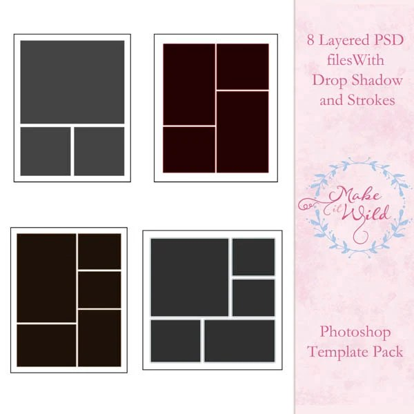 Photoshop Collage Template Pack Multi-Size Templates Etsy