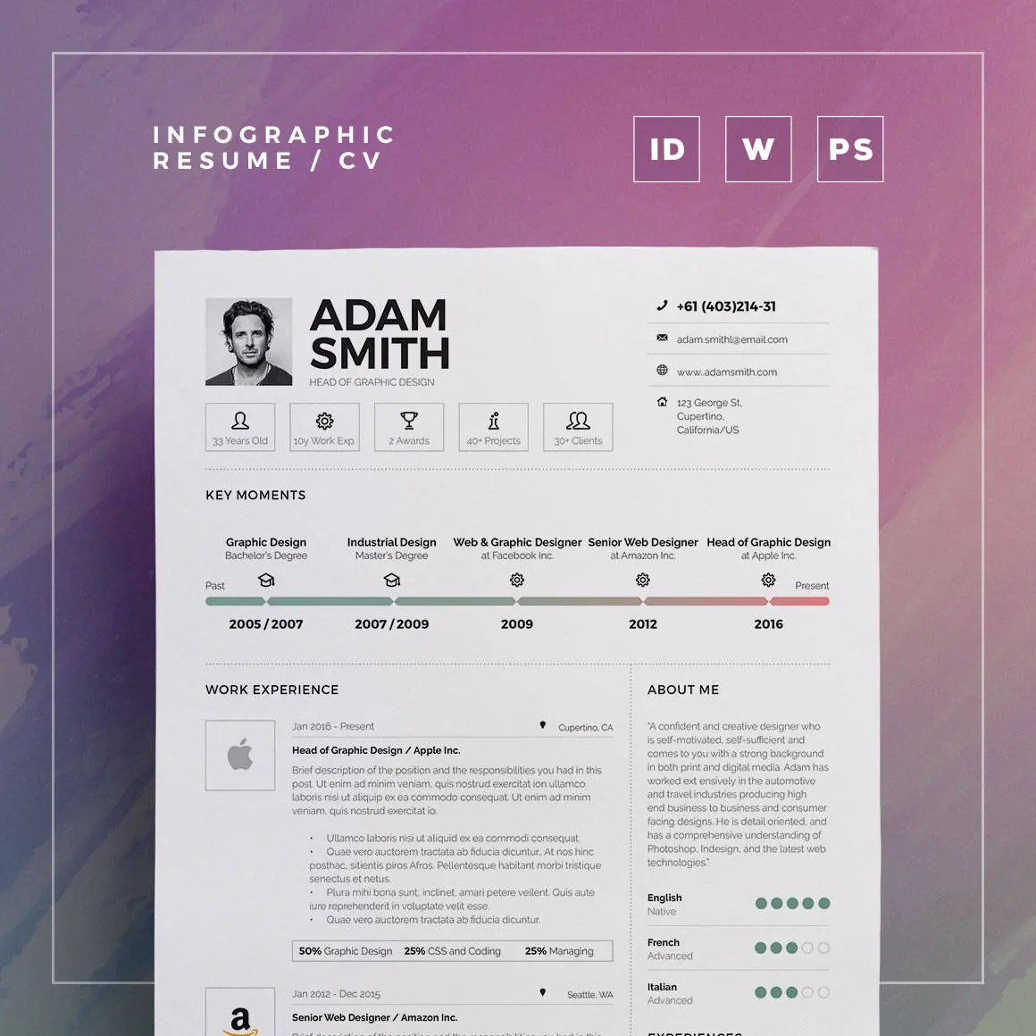 Infographic Resume/Cv Volume 9 2 Pages Word and Indesign Etsy