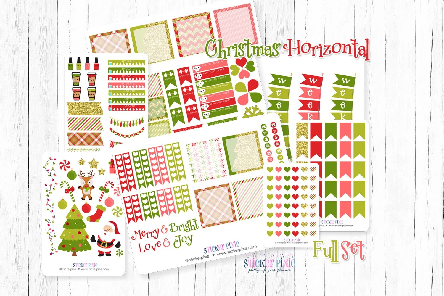 December Christmas Horizontal Planner Stickers monthly set Etsy