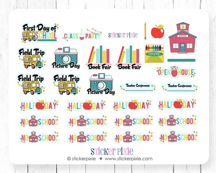 Back to School Sticker Set Planner Stickers BTS-3A Etsy