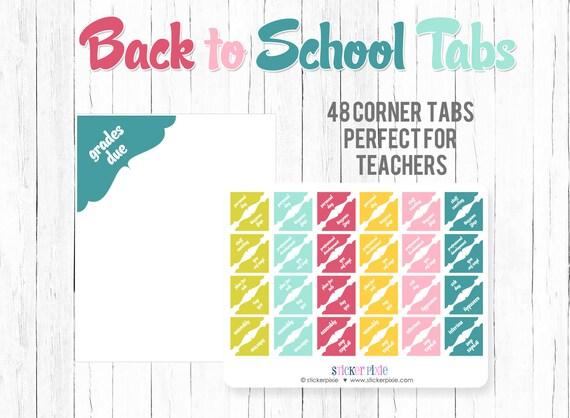 Back to School Planner Sticker Corner Tabs Teacher Planning Etsy