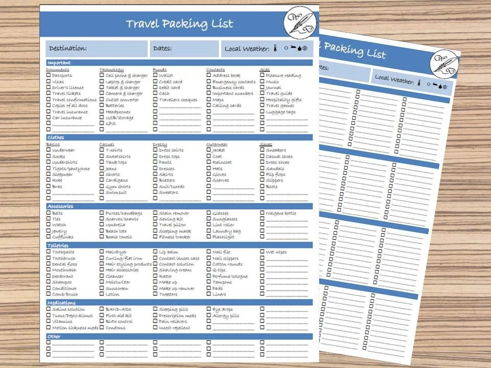 Packing List Travel List Printable Travel Checklist Instant Etsy