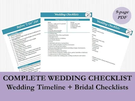 Bridal Checklist PDF Wedding Timeline Checklist Printable Etsy