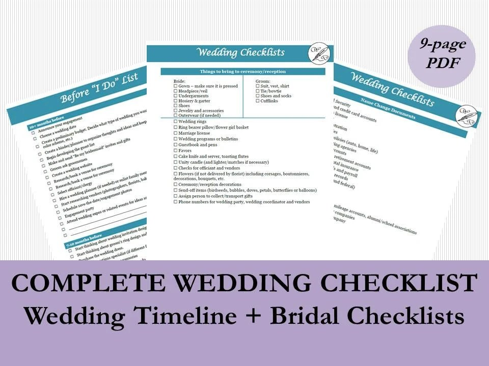 Wedding Planning Timeline Template Wedding Checklist Etsy
