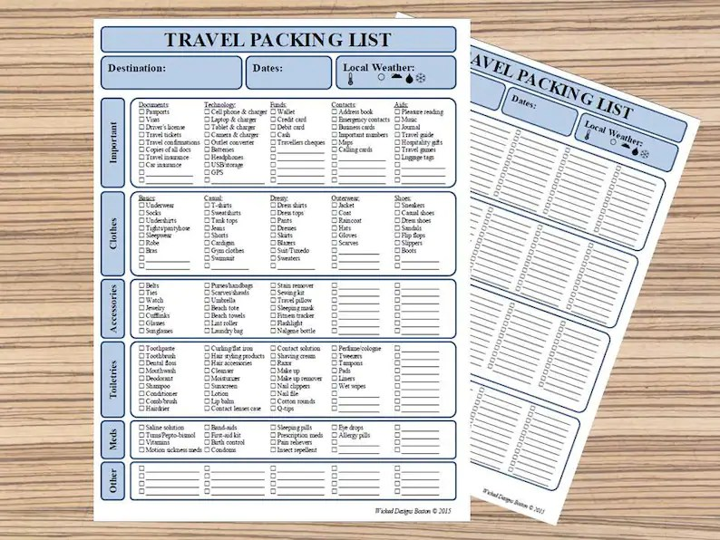 Packing List Travel Checklist Packing Planner Vacation Etsy