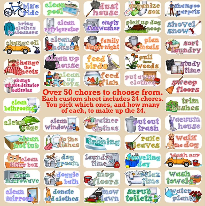 Household Chores stickers Customized sheets Over 50 choices Etsy