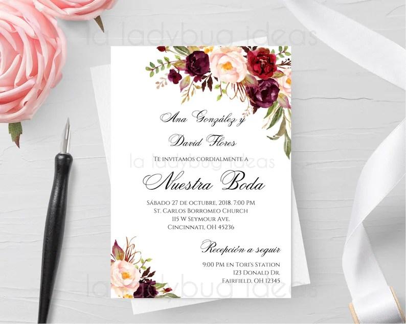Invitacion boda para editar/imprimir color tinto Invitaciones Etsy
