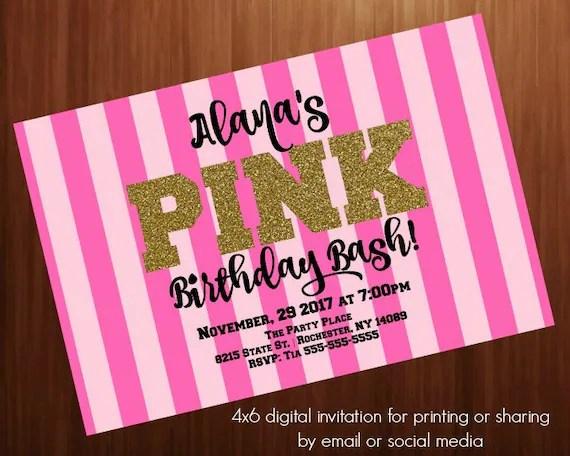 Teen Birthday party invitation PINK SecretVictoria Pink Etsy