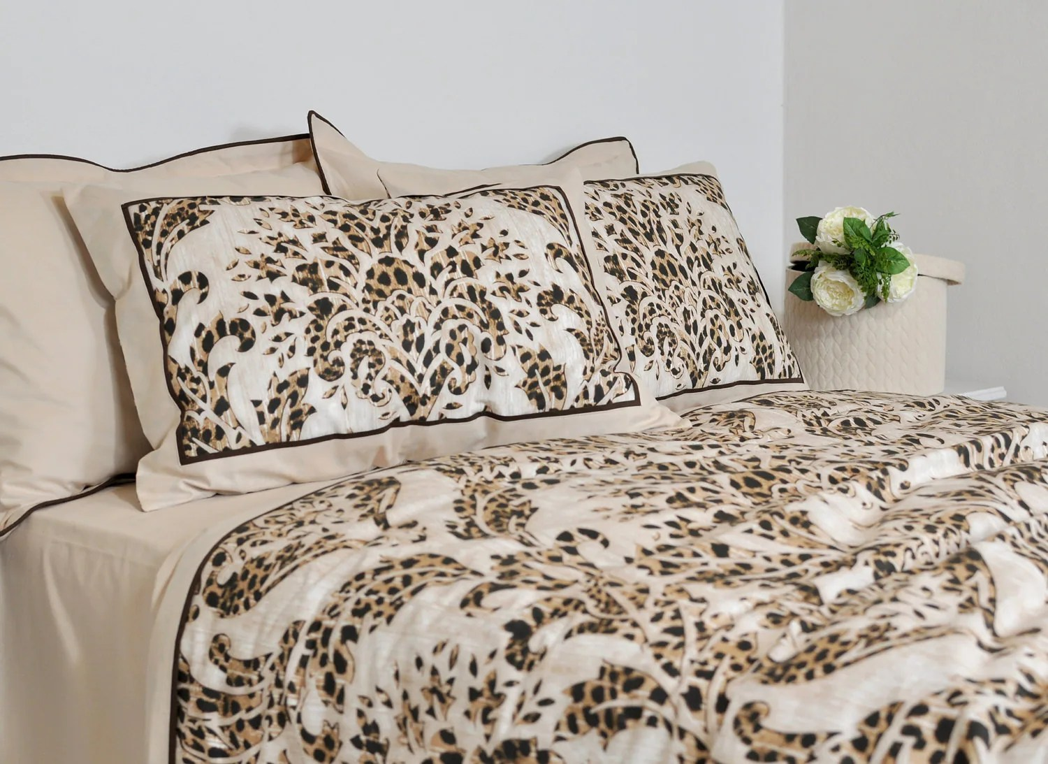 Damask Duvet Leopard Damask Duvet Cover Set In Brown Beige For Full Queen King Size Bordered Bedding In Leopard Print Bohemian Style Boho Bedding