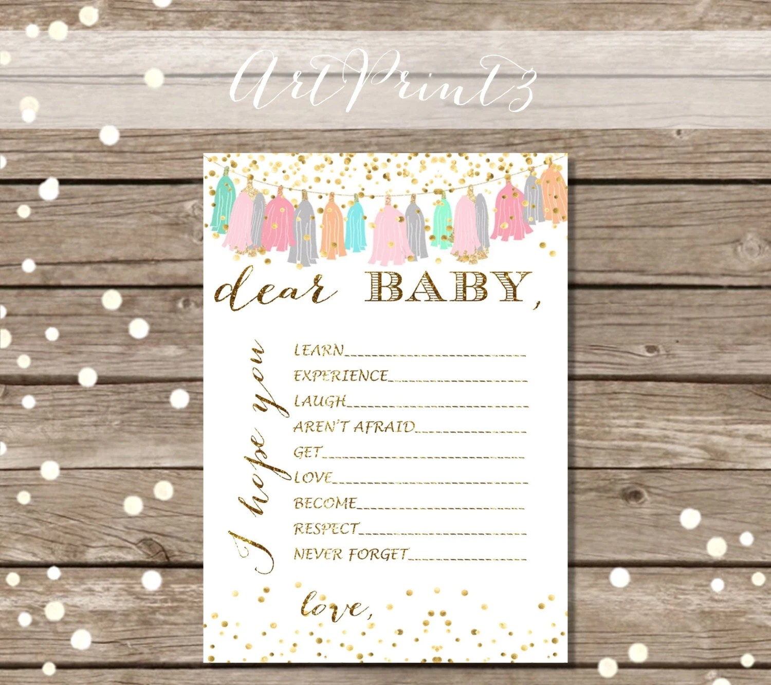 Dear Baby Printable Baby Shower Wishes Printable Baby Shower Etsy