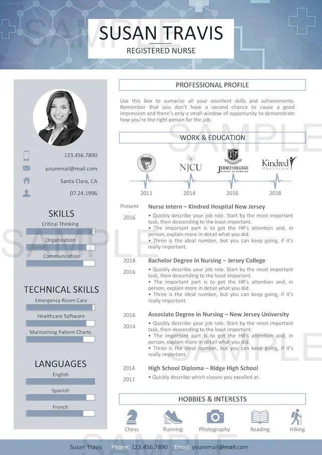 Resume Template - Nurse Resume - Doctor Resume - Medic Resume