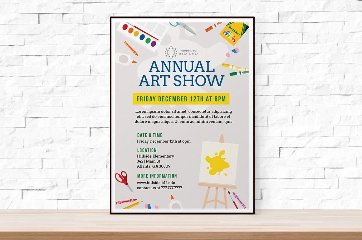 DIY Printable School Art Show Flyer Template, Word Flyer Templates