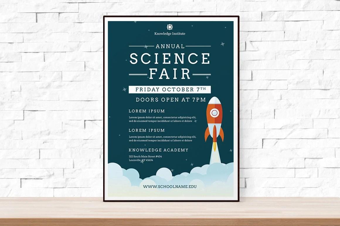 DIY Printable School Science Fair Flyer Template, Word Flyer