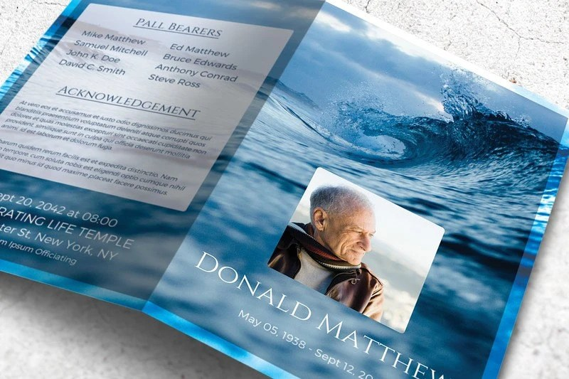 Memorial Booklet Template, Printable Funeral Program Editable with  Microsoft Word, Instant Download The Wave