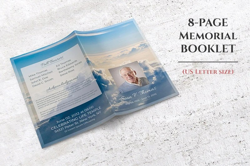 8 Page Memorial Booklet Editable with Microsoft Word, Funeral Program  Template, Heaven Theme Instant Download
