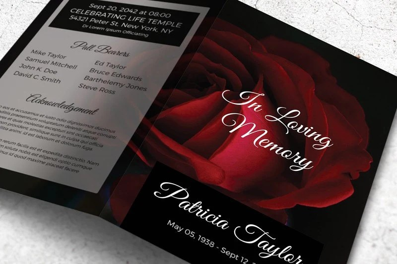 Red Rose Funeral Program Memorial Card Template Editable with Etsy