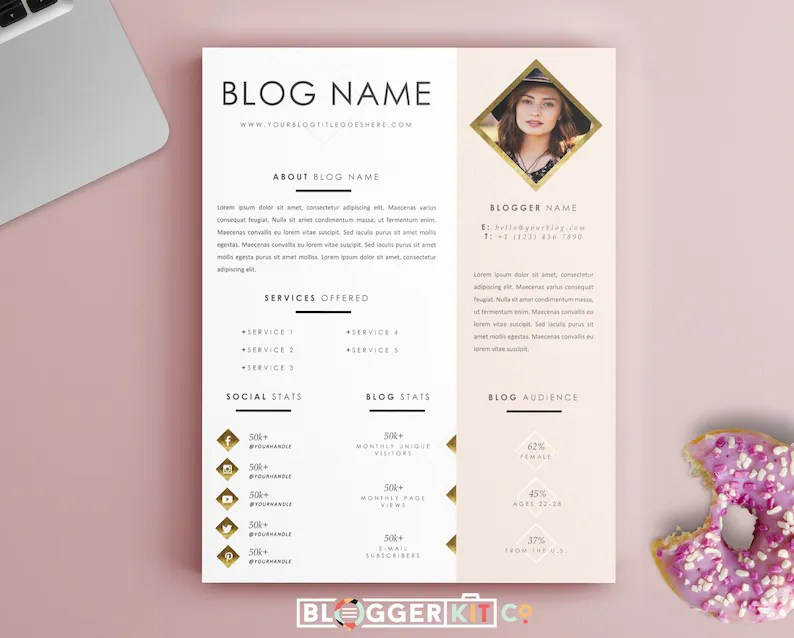 One-Page Media Kit Template Press Kit Template Electronic Etsy