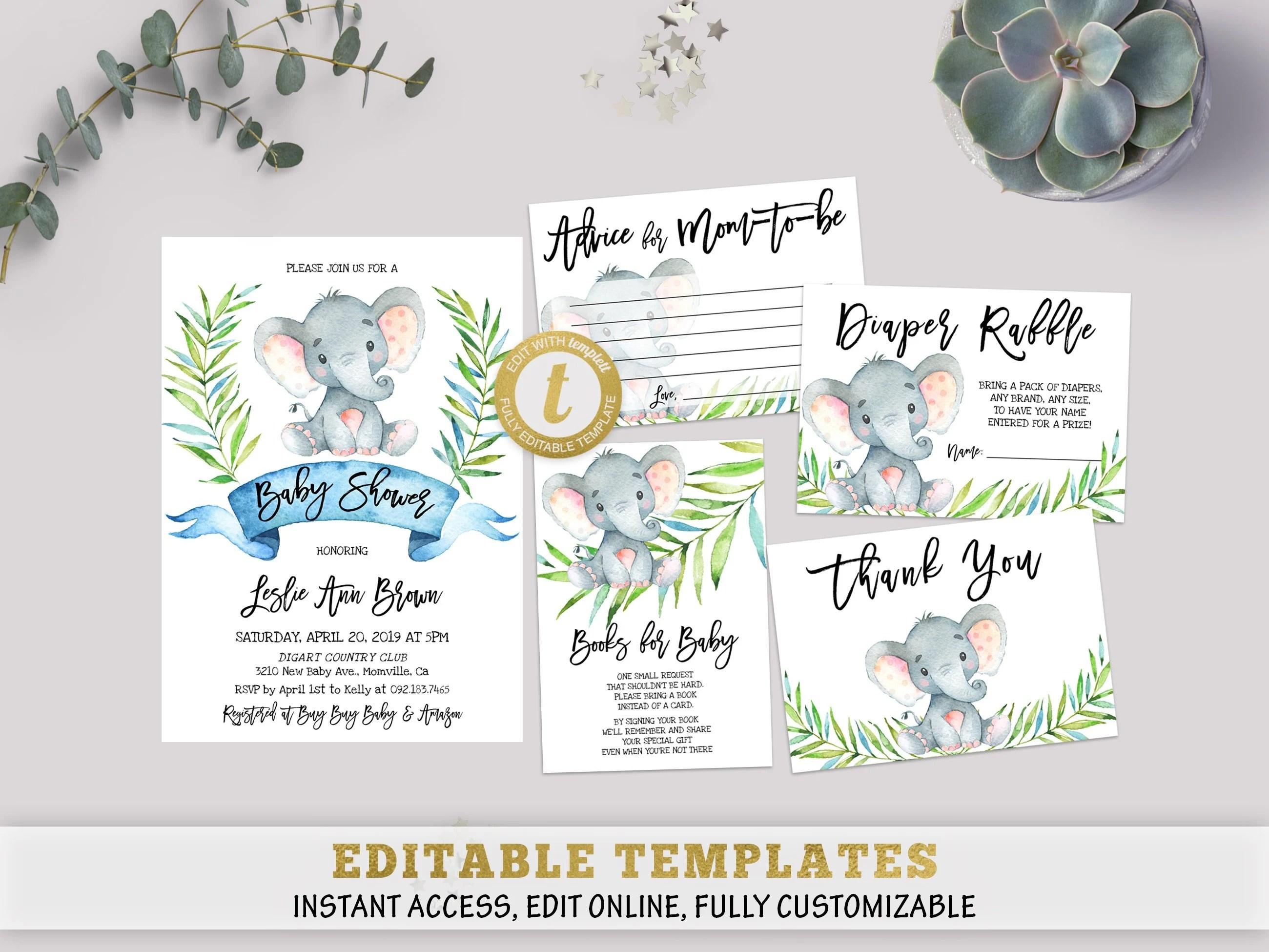 Printable Elephant Baby Shower Invitation Template Set Etsy
