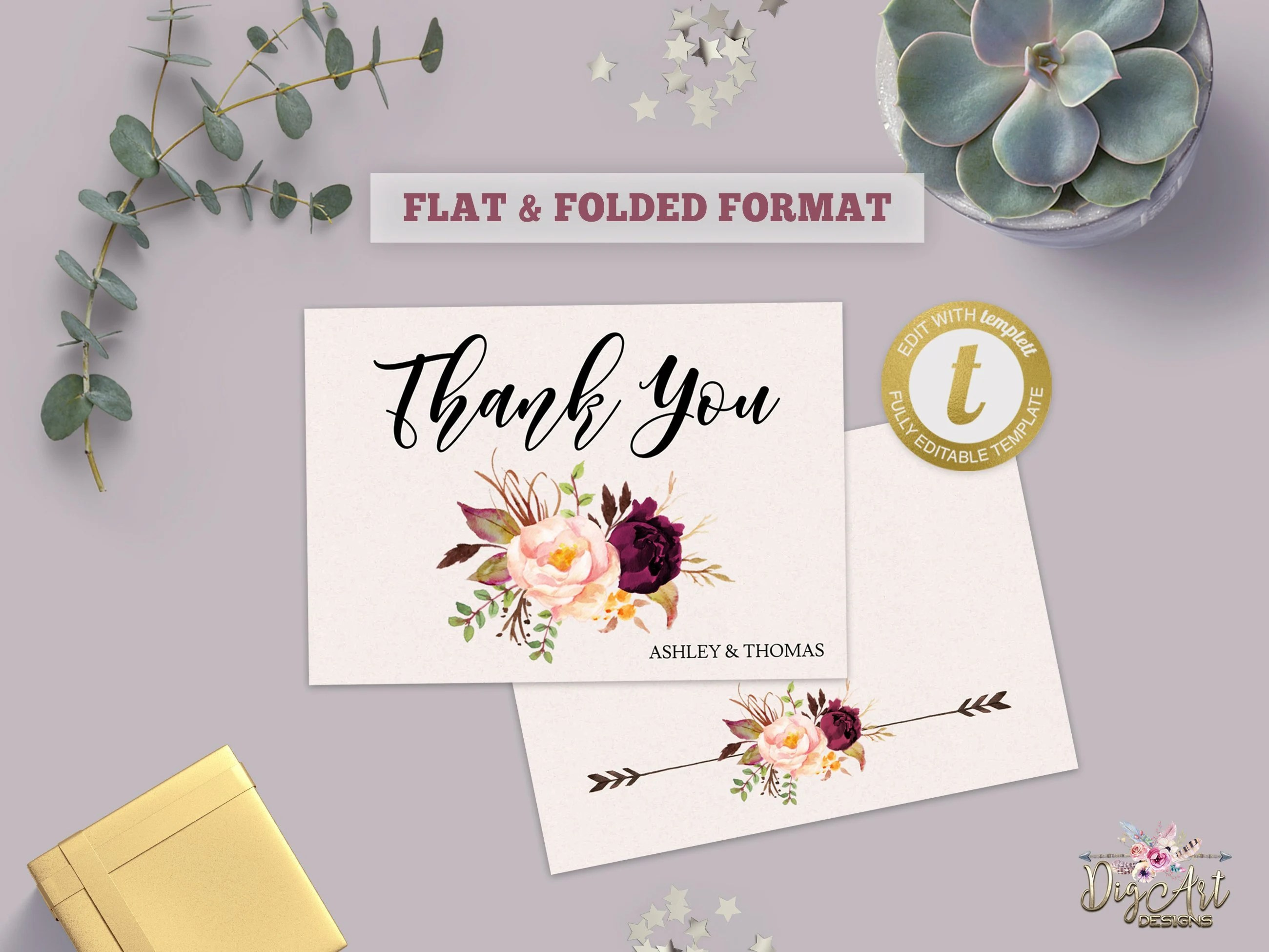 Printable Boho Thank You card Template Editable Burgundy Etsy
