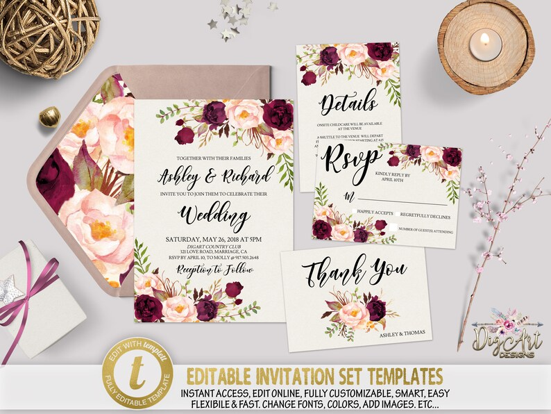 Printable Floral Wedding Invitation Template Set Editable Etsy