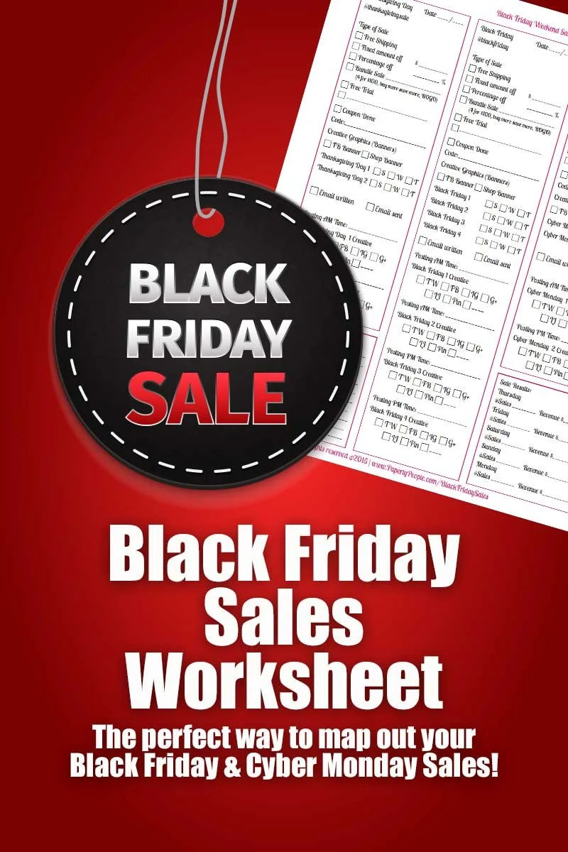 Sale Black Friday Black Friday Sales Worksheet Map Out Your Black Friday Cyber Monday Sales Plan For Etsy Sellers Marketing Ecommerce Ebay Sales