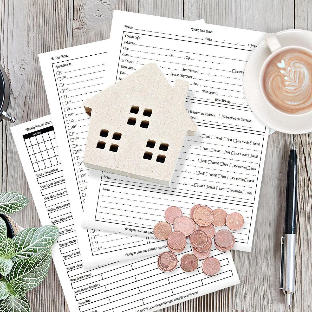 Real Estate Planner Agenda Calendar Real Estate Agent Goal Etsy