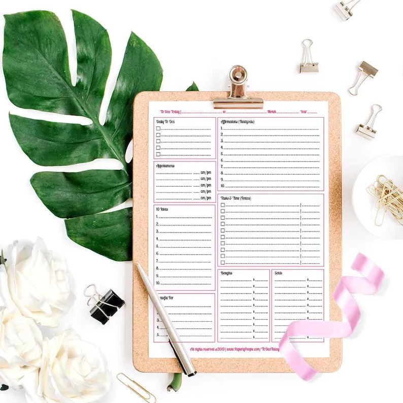 Printable Daily Planner Pages DIY Day Planner To Do List Etsy