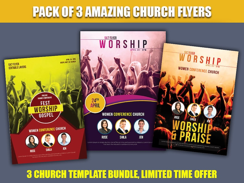 Church flyer hope church marketing art of worship bundle Etsy
