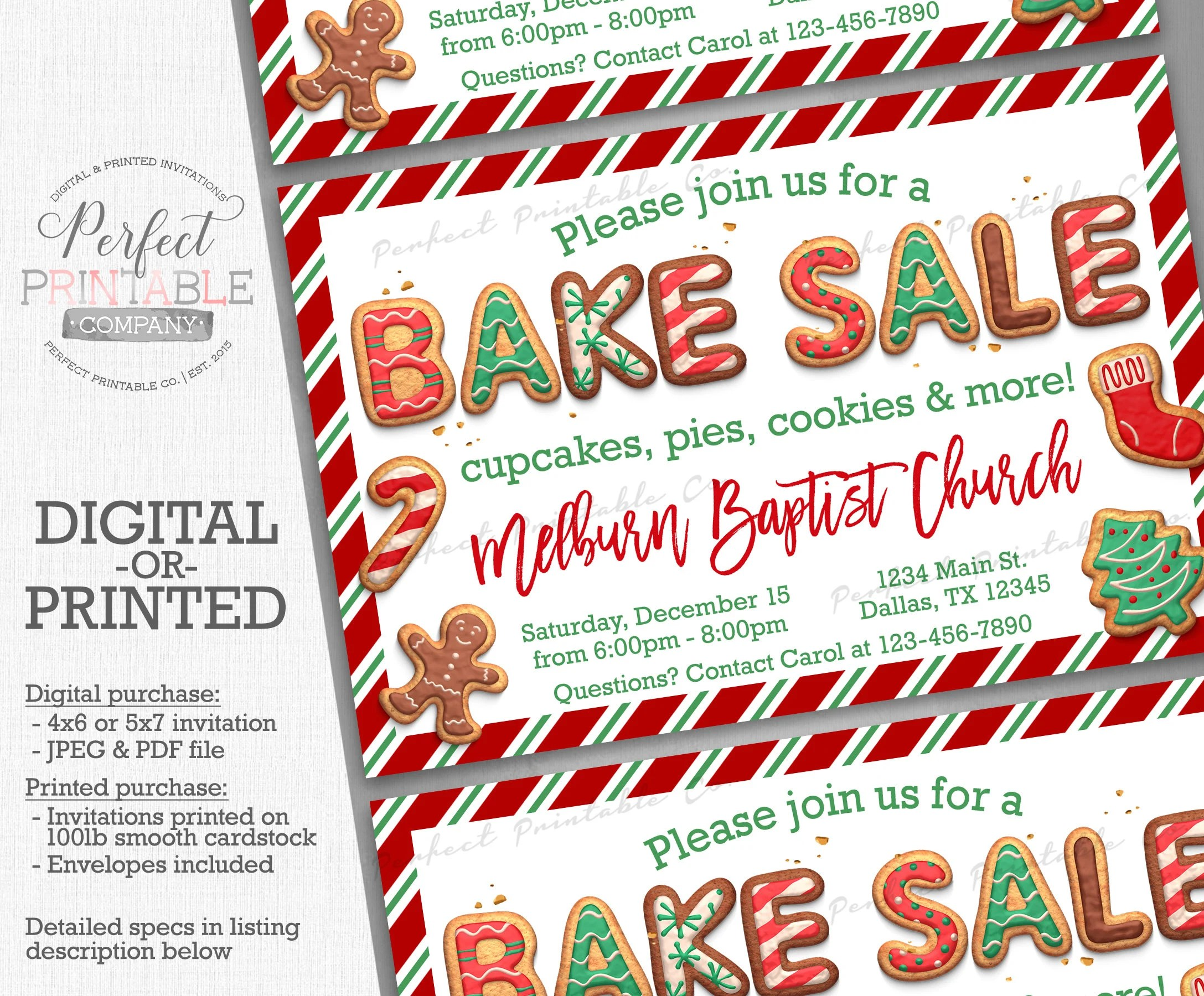 Christmas Bake Sale Invitation Holiday Bake Sale Invite Etsy
