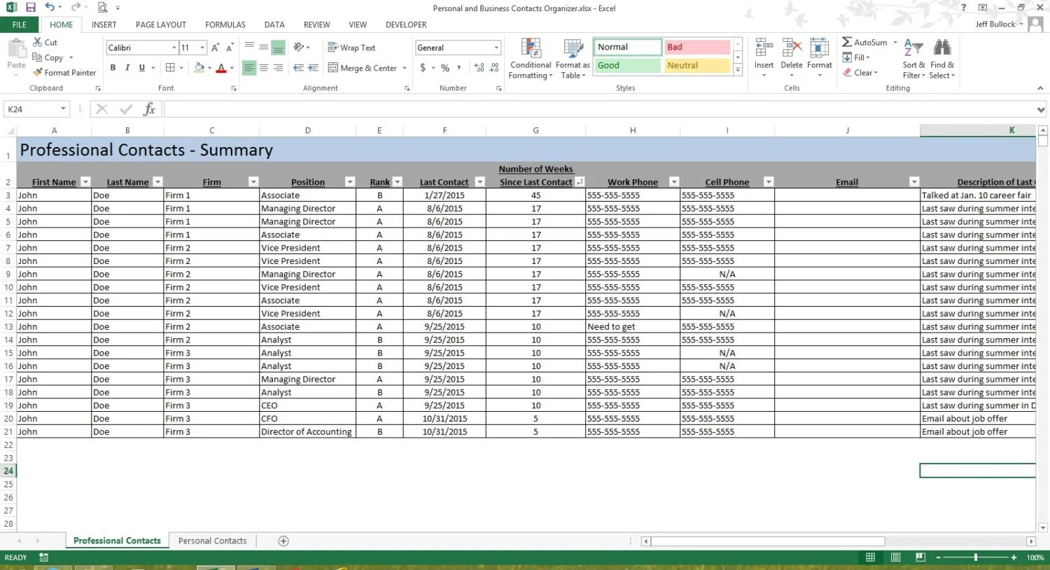 Personal  Professional Contacts Organizer Microsoft Excel Etsy