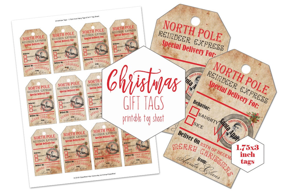 CHRISTMAS TAGS PRINTABLE Digital Vintage Authentic From Santa