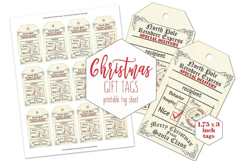 PRINTABLE CHRISTMAS Gift Tags for Kids Naughty or Nice From
