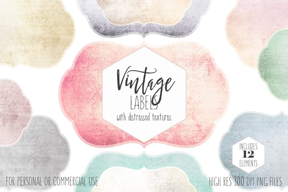 VINTAGE LABELS CLIPART for Commercial Use Shabby Chic