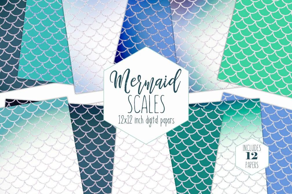 TEAL MERMAID SCALE Digital Paper Pack Blue Glitter Backgrounds