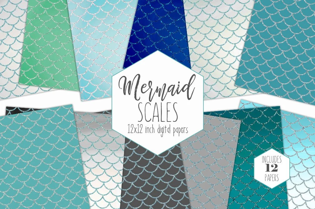 GLITTER MERMAID SCALES Digital Paper Pack ocean Blue