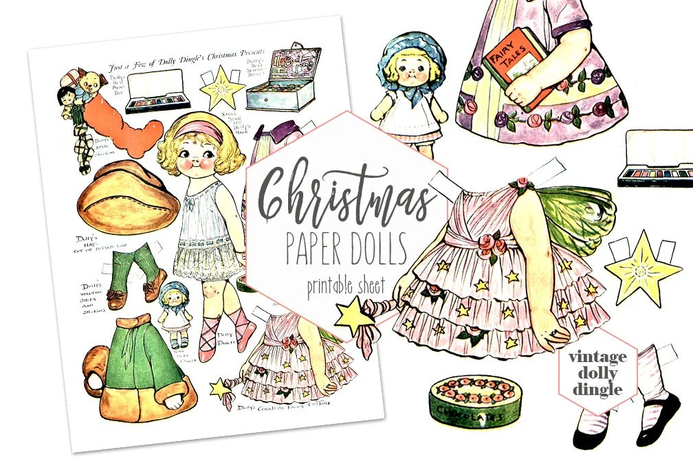 VINTAGE PAPER DOLLS Christmas Printable Collage Sheet Dolly